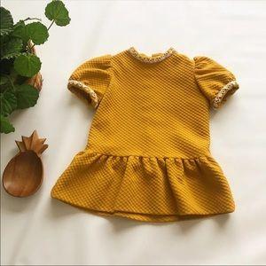 Vintage   Handmade Mustard Yellow Toddler Dress 2T